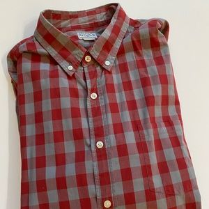 J Crew Mens Red Gray Checkered Oxford Shirt XL